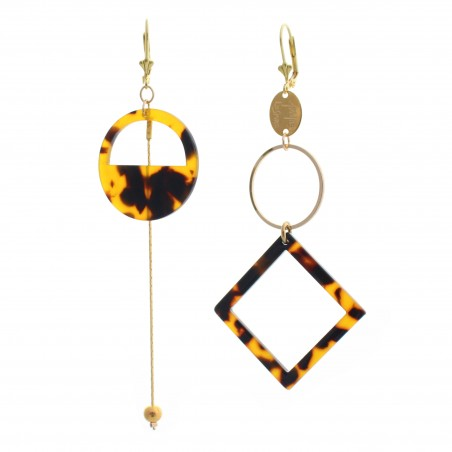 brown square 'Marbré' earrings