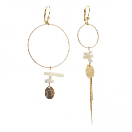white ring 'Stone' earrings