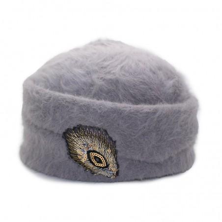 'PLUMI' angora hood gris