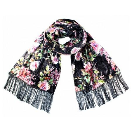 écharpe Hanami noir-rose