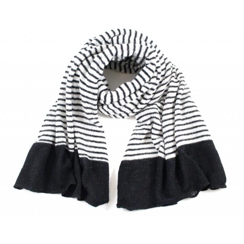 écharpe Lou rayée noir blanc e1f66527a17