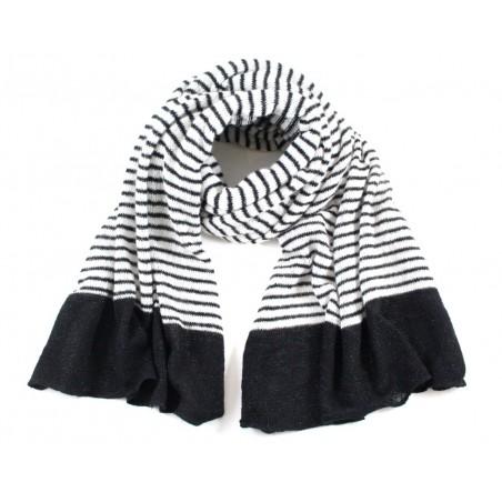 écharpe Lou rayée noir/blanc