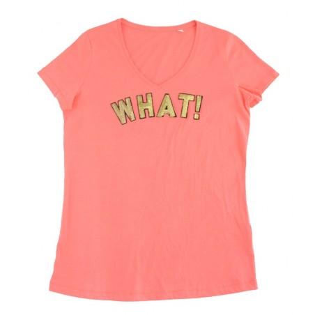orange 'WHAT!' t-shirt