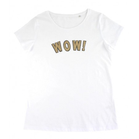 white 'WOW!' t-shirt