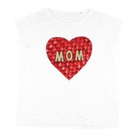 white linen 'MOM' t-shirt